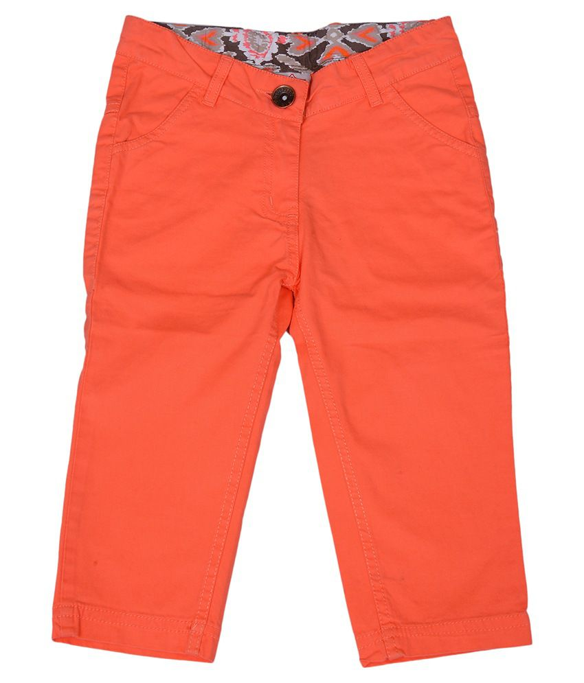 612League Orange Color Capris For Kids