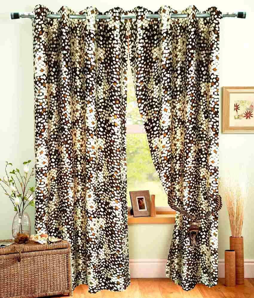 Homefab India Set of 2 Door Eyelet Curtains Geometrical Brown