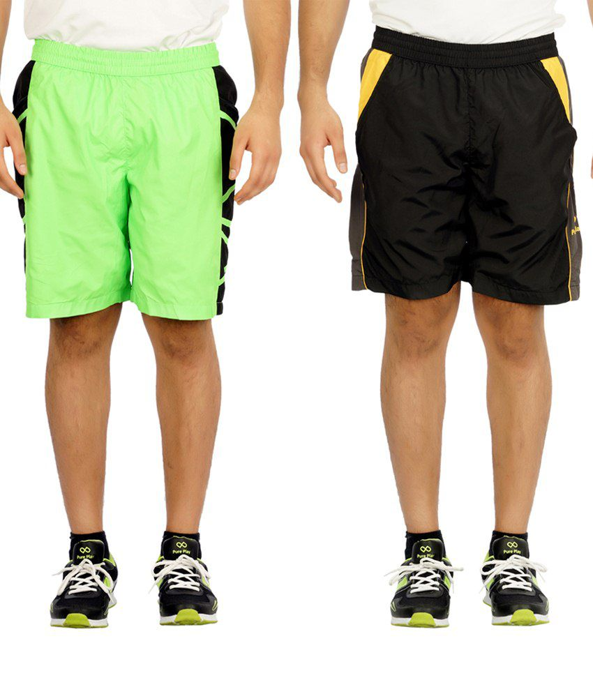 Pure Play Pack Of 2 Black & Lime Running Shorts