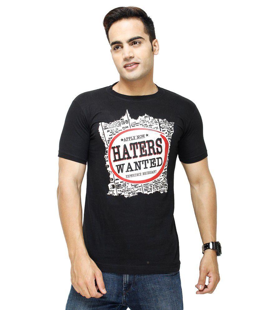 Fashion Enterprises Black Cotton Blend Printed T-Shirt