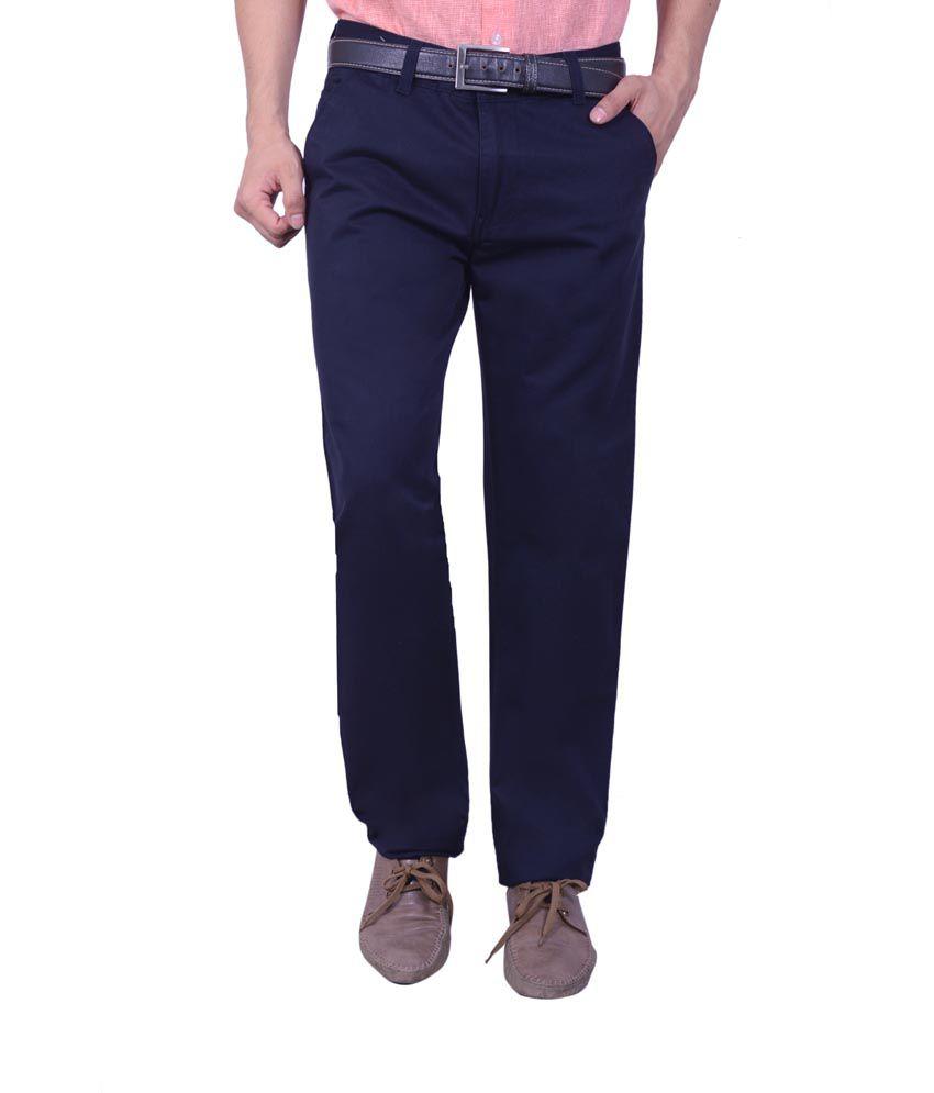 Studio Nexx Blue Cotton Regular Fit Casual Chinos Trouser