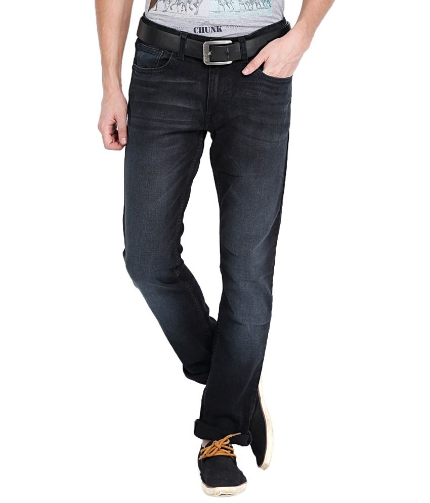 Locomotive Faded Black Jeans For Men