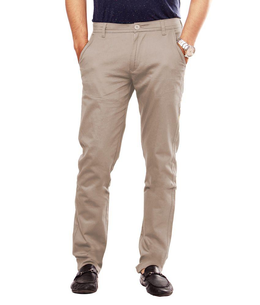 Uber Urban 100% Cotton lycra Slim Fit Trousers For Men