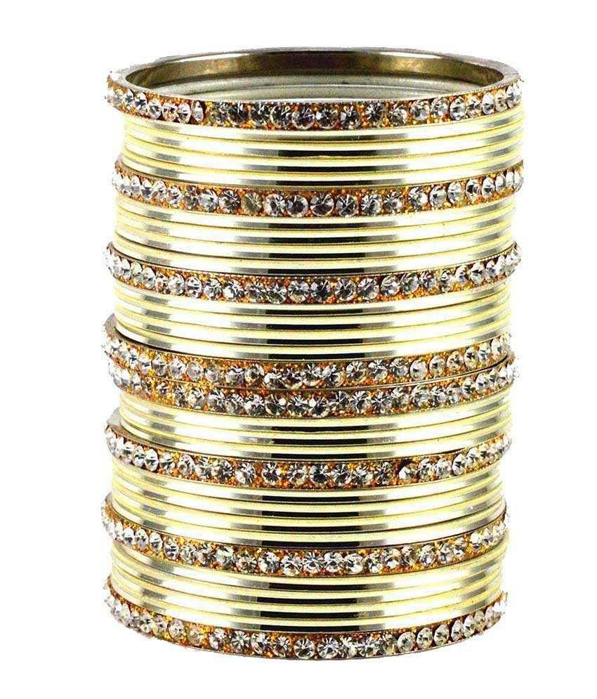 Vidhya Kangan White Brass Crystal Studded Bangle Set Of 32