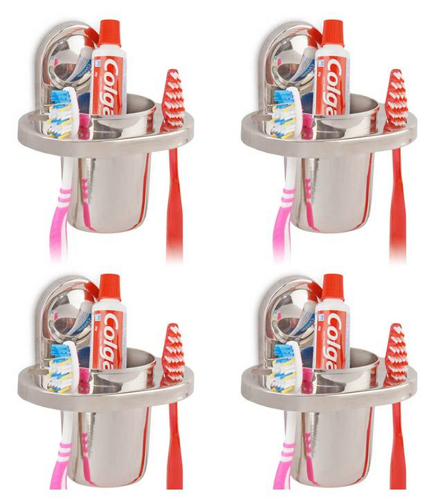 Doyours 4 Pieces Stainless Steel Tooth Brush Holder With Glass