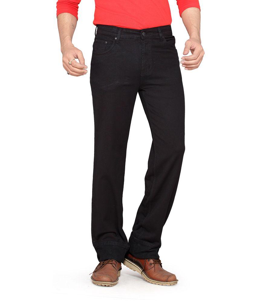 Dragaon Jeans Black Cotton Blend Regular Jeans