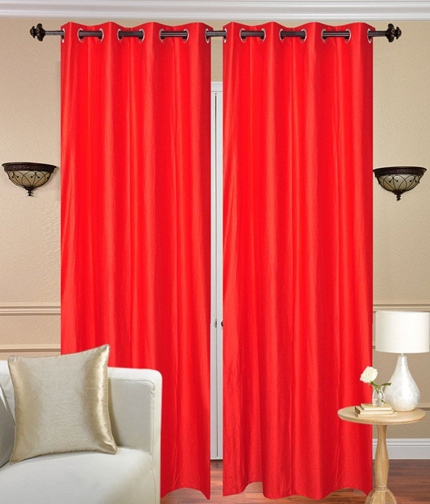 Fresh From Loom Set of 2 Door Eyelet Curtains Solid Red