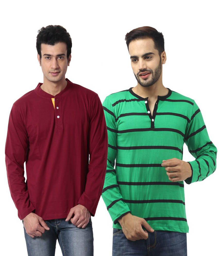 Leana Full Sleeves Cotton Henley Neck T-shirts Set Of 2