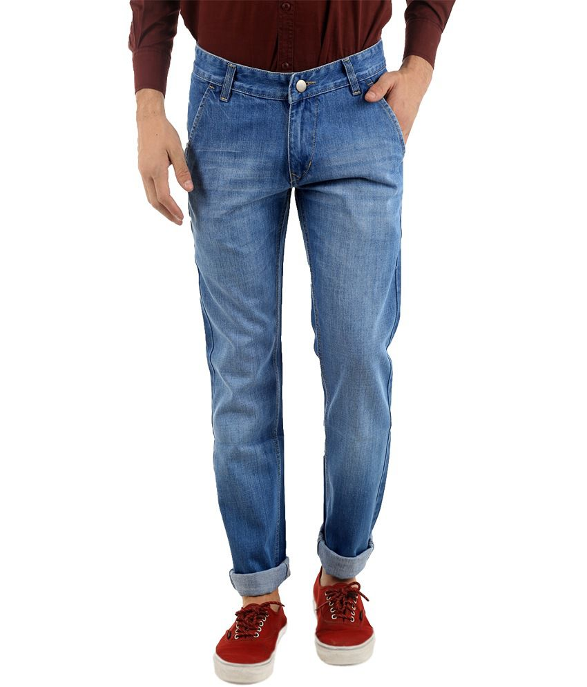 Naughty Walts Blue Cotton Faded Regular Jeans