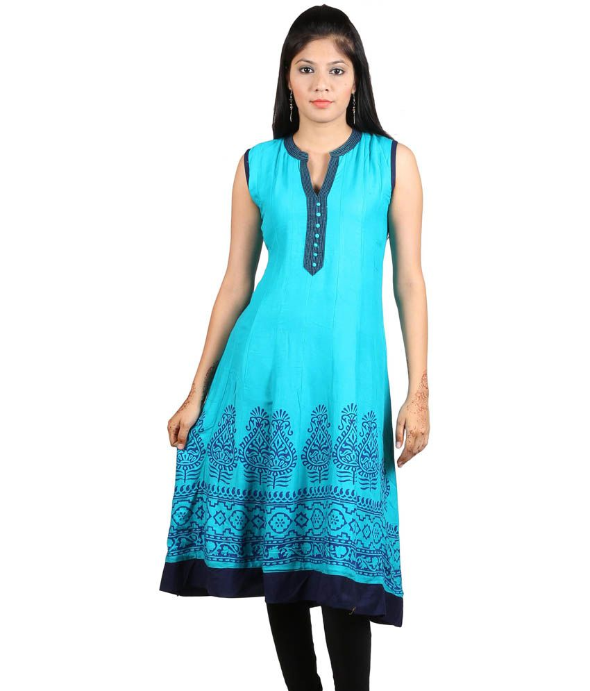 Purpleyou Blue Printed Round Neck Kurti