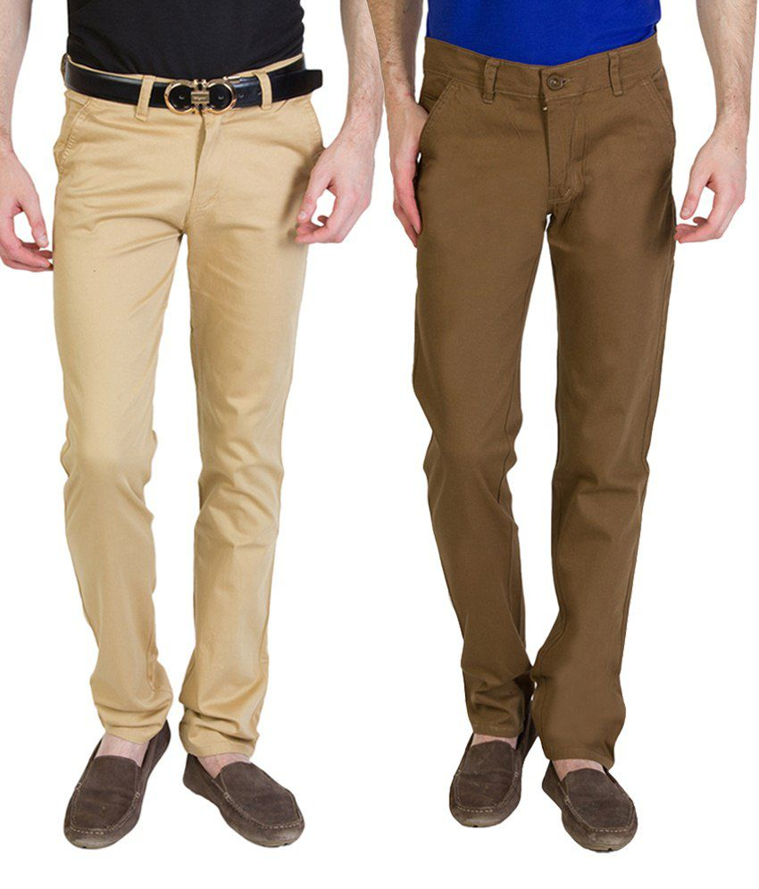 Bloos Jeans Alluring Combo Of 2 Brown Trousers For Men