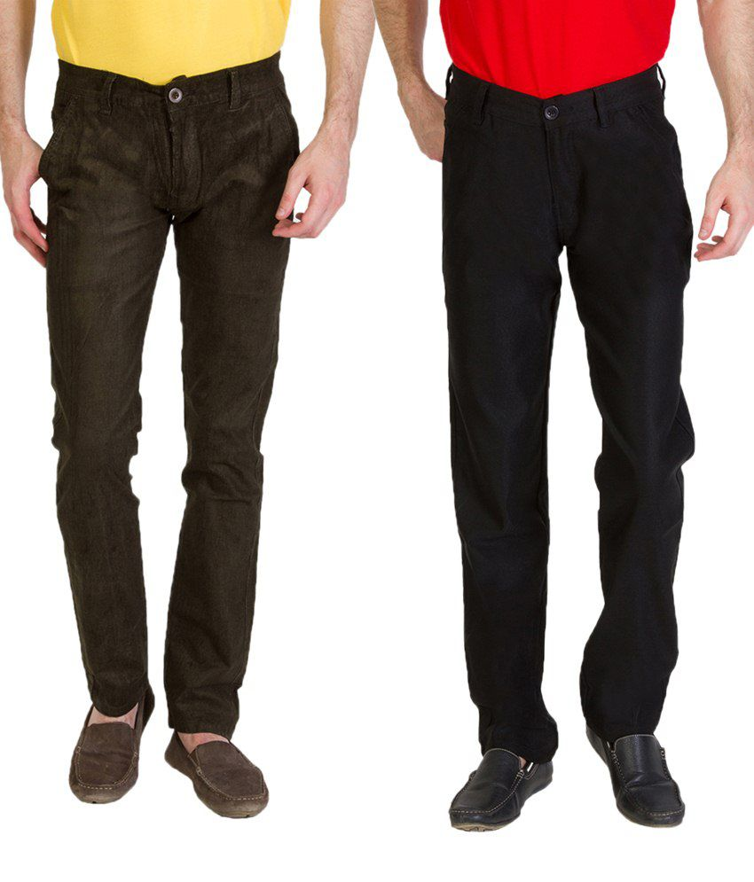 Bloos Jeans Combo Of Dark Khaki Chinos & Black Trousers For Men