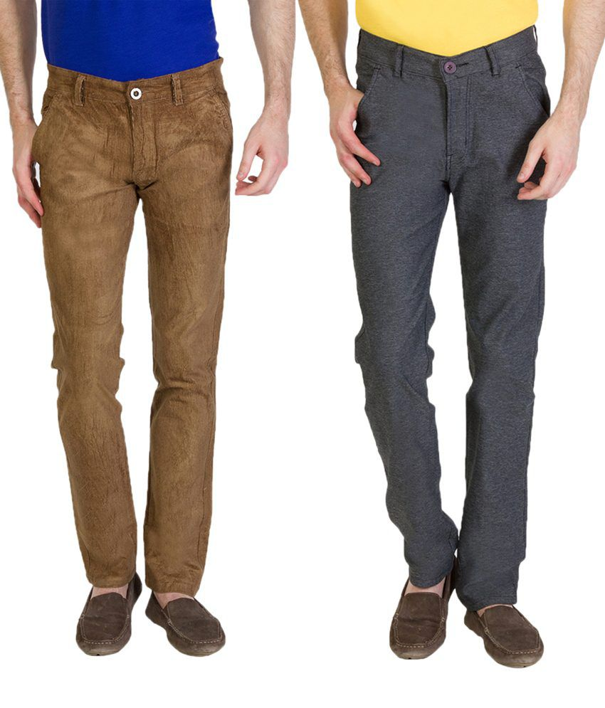 Bloos Jeans Exclusive Combo Of 2 Gray & Brown Chinos For Men