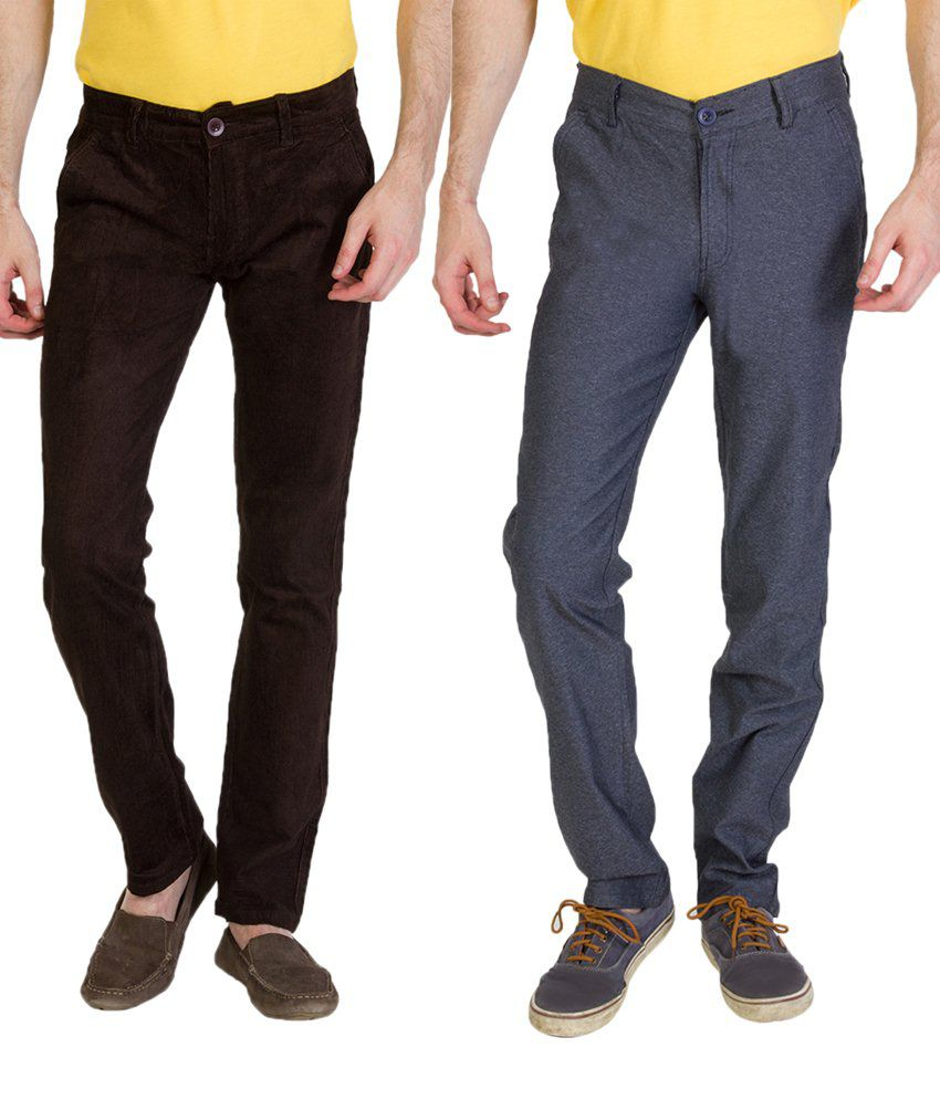 Bloos Jeans Modern Combo Of 2 Black & Gray Chinos For Men