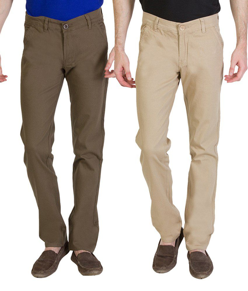 Bloos Jeans Striking Combo Of 2 Beige & Khaki Chinos For Men