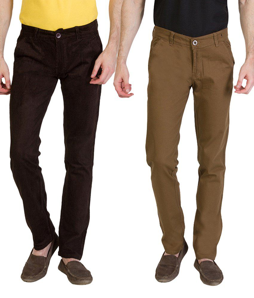 Bloos Jeans Striking Combo Of 2 Brown Chinos For Men