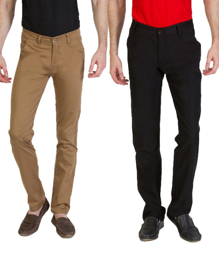 Bloos Jeans Subtle Combo Of Brown Chinos & Black Trousers For Men