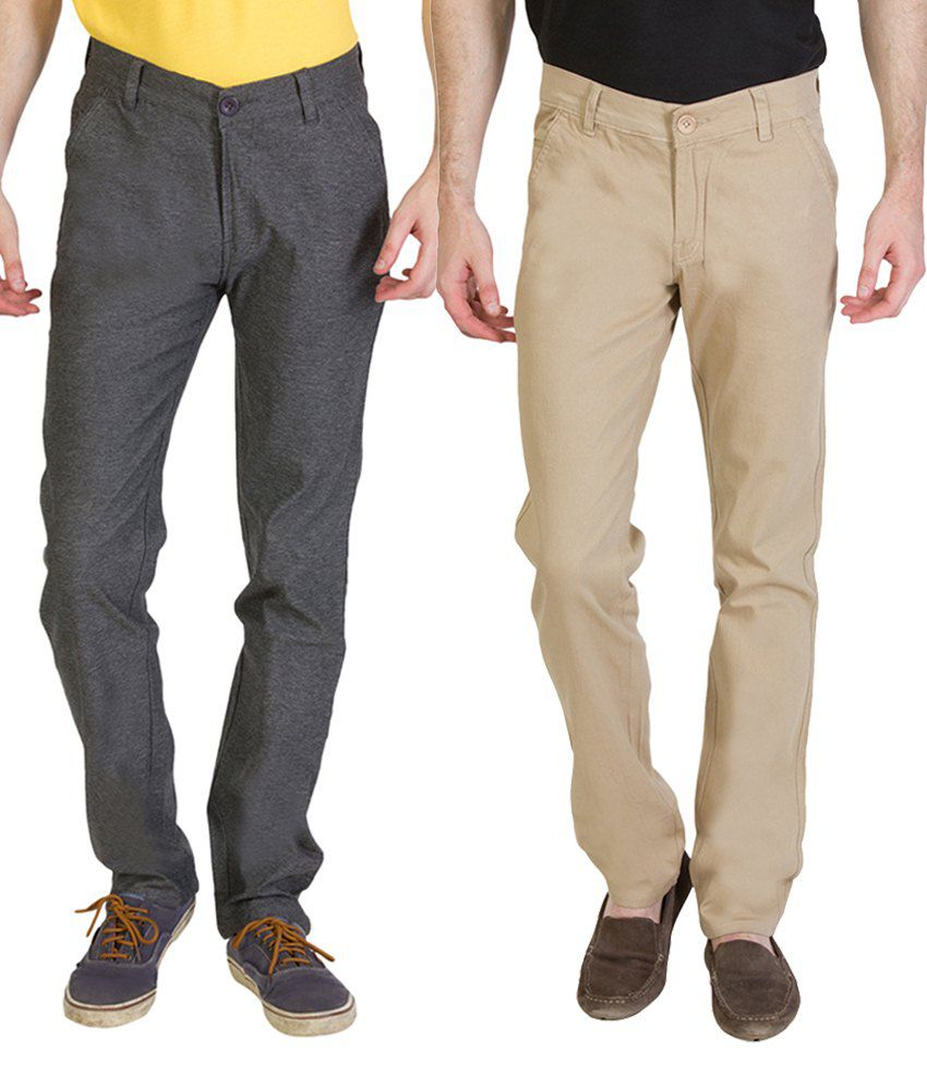 Bloos Jeans Superb Combo Of 2 Beige & Gray Trousers For Men