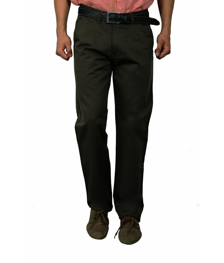 Studio Nexx Green Cotton Regular Fit Casual Chinos Trouser
