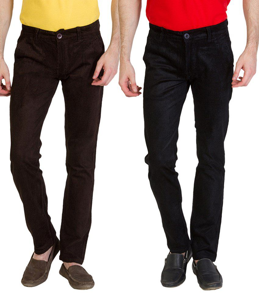 Bloos Jeans Alluring Combo Of 2 Brown & Black Chinos For Men