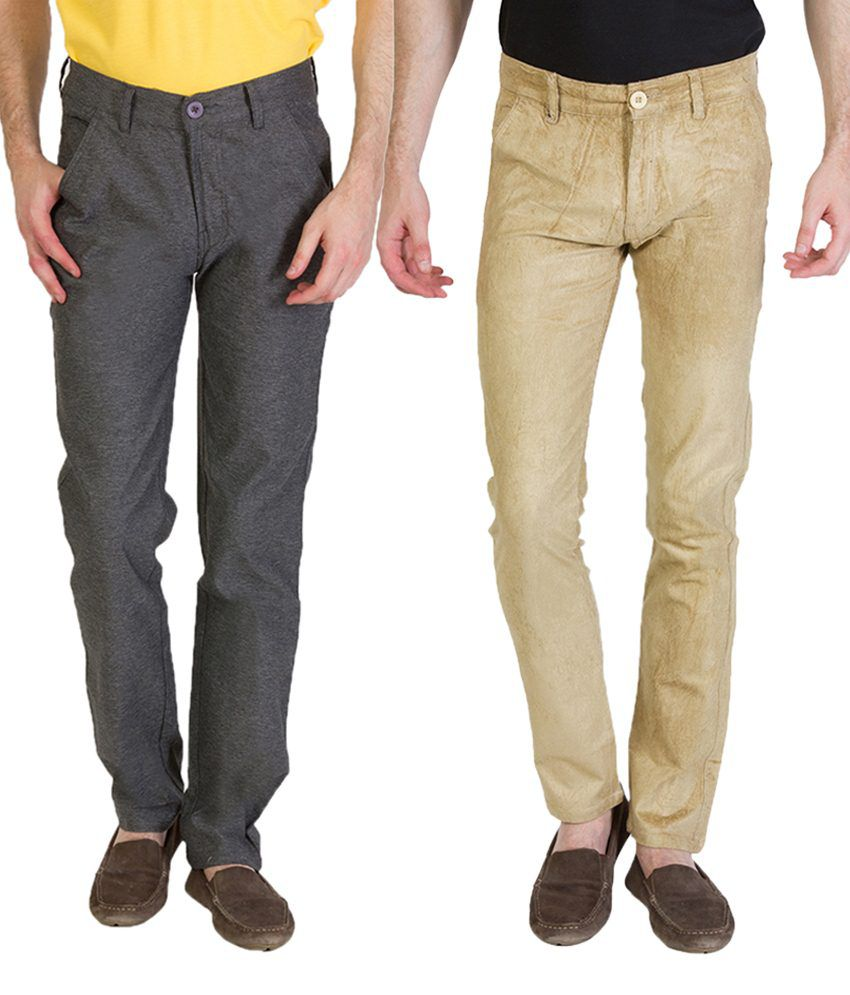 Bloos Jeans Amazing Combo Of Beige Chinos & Gray Trousers For Men