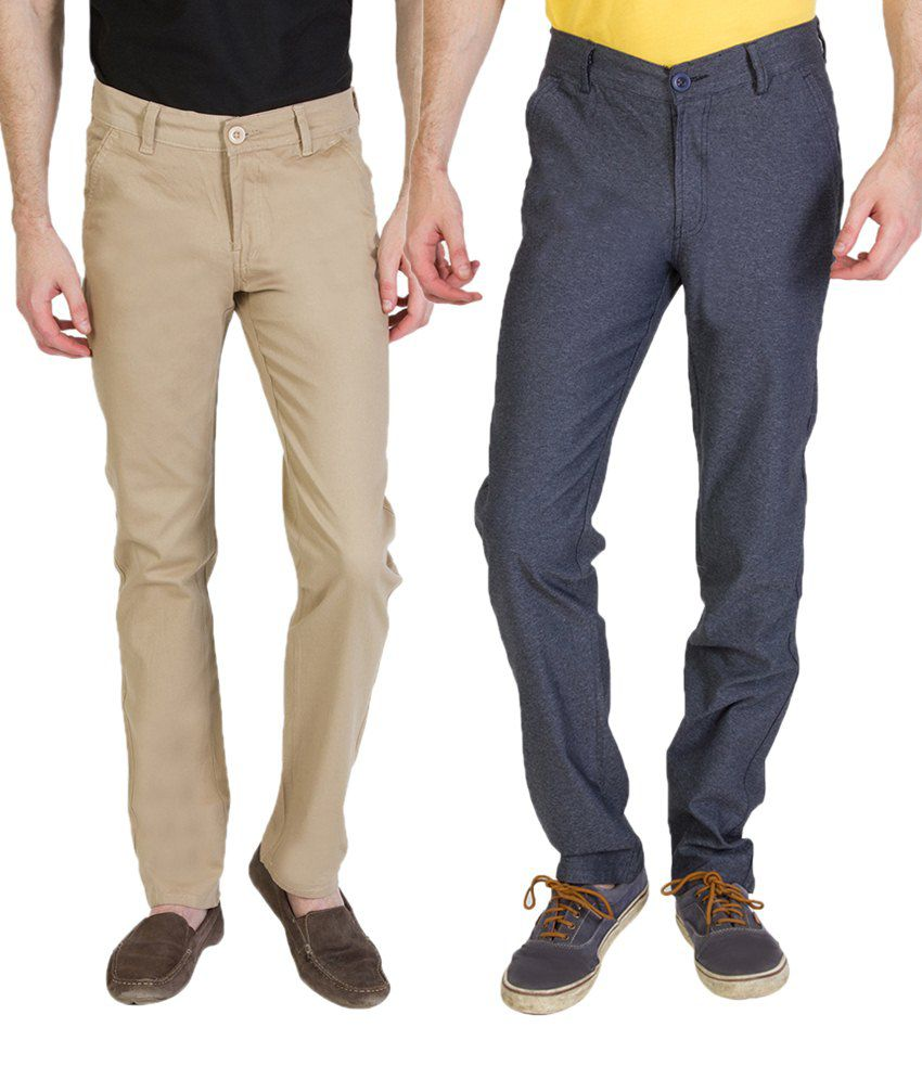 Bloos Jeans Awesome Combo Of Steel Gray Trousers & Light Beige Chinos For Men