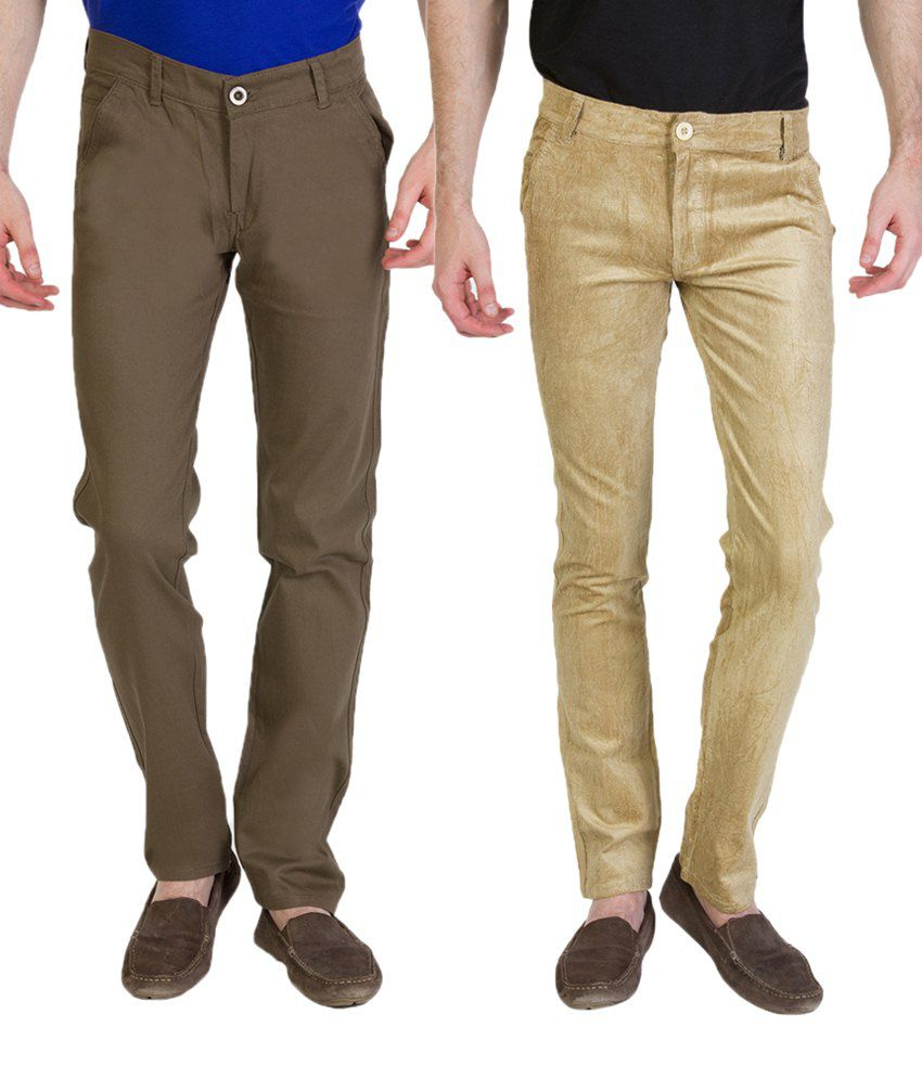 Bloos Jeans Combo Of 2 Deep Brown & Beige Chinos For Men