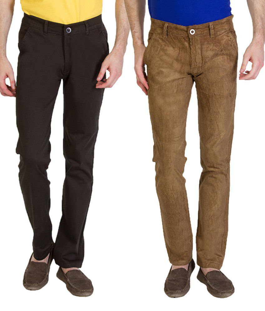 Bloos Jeans Combo Of 2 Brown Chinos For Men