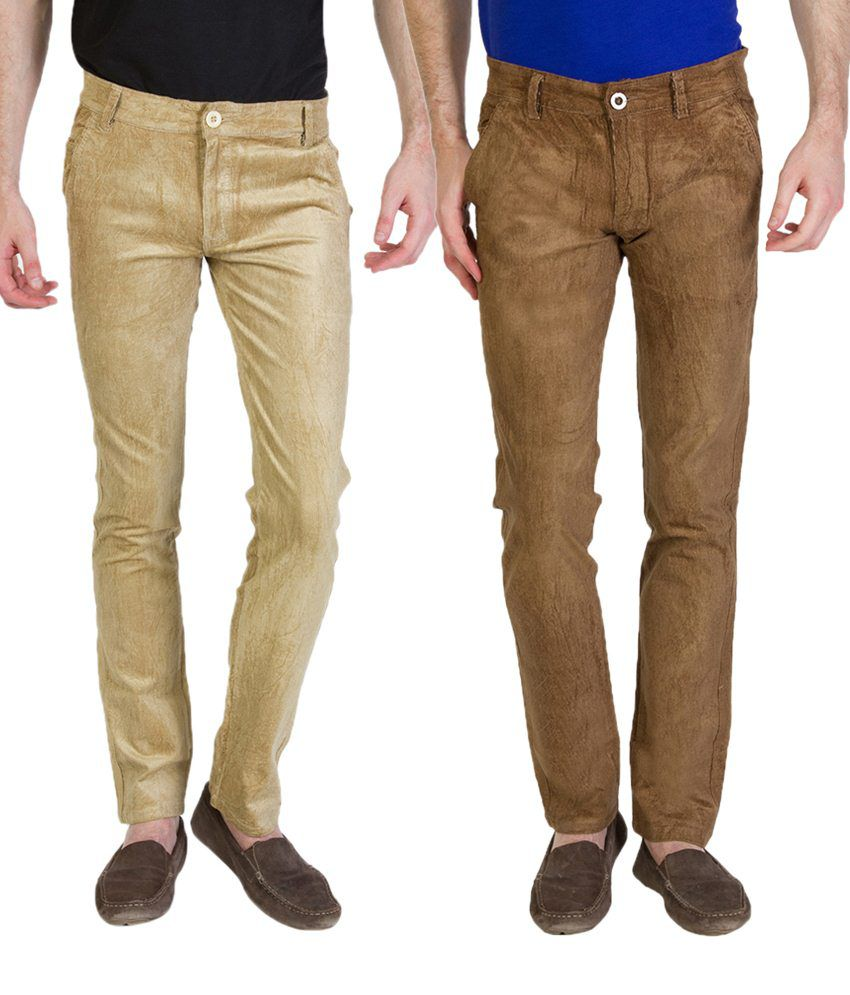 Bloos Jeans Contemporary Combo Of 2 Brown & Beige Chinos For Men