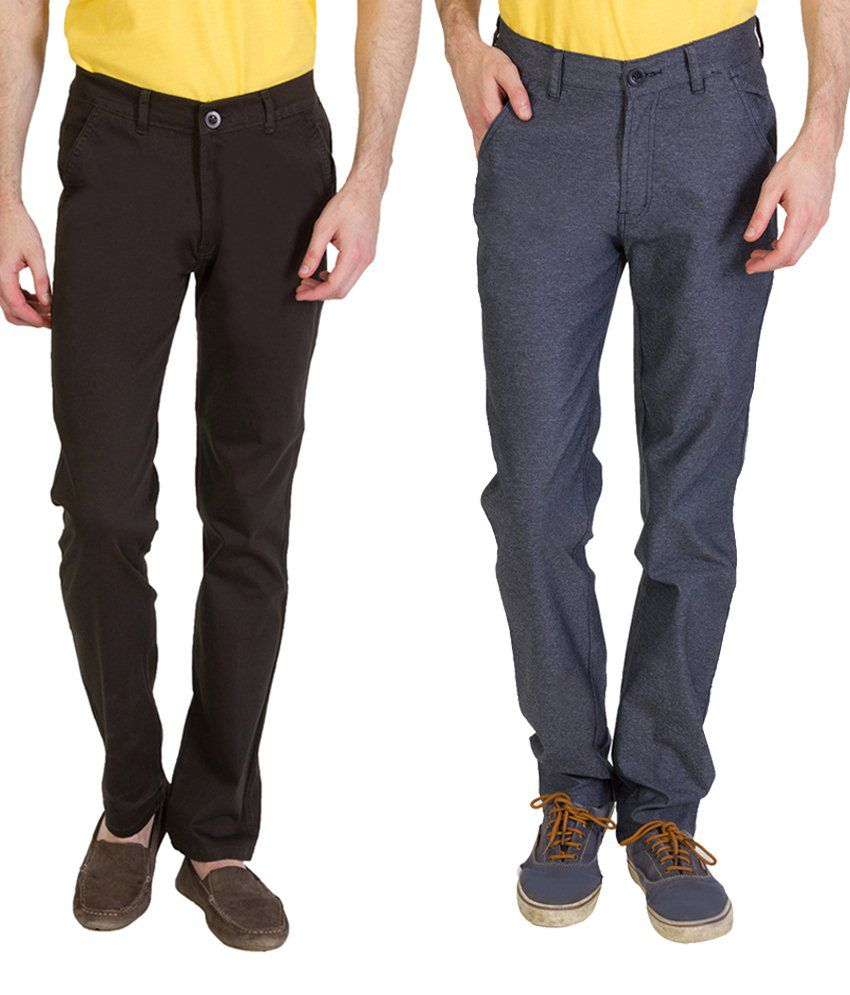 Bloos Jeans Delightful Combo Of Dark Brown Chinos & Gray Trousers For Men