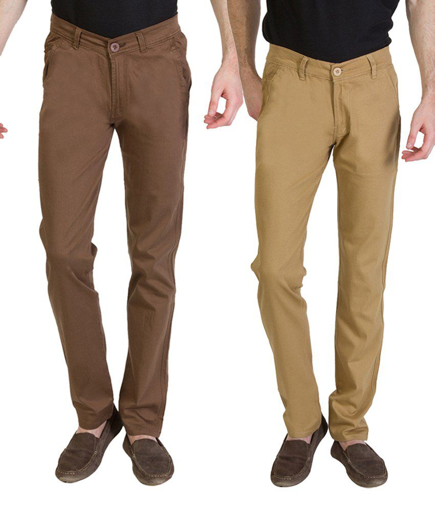 Bloos Jeans Fab Combo Of Beige Trousers & Brown Chinos For Men