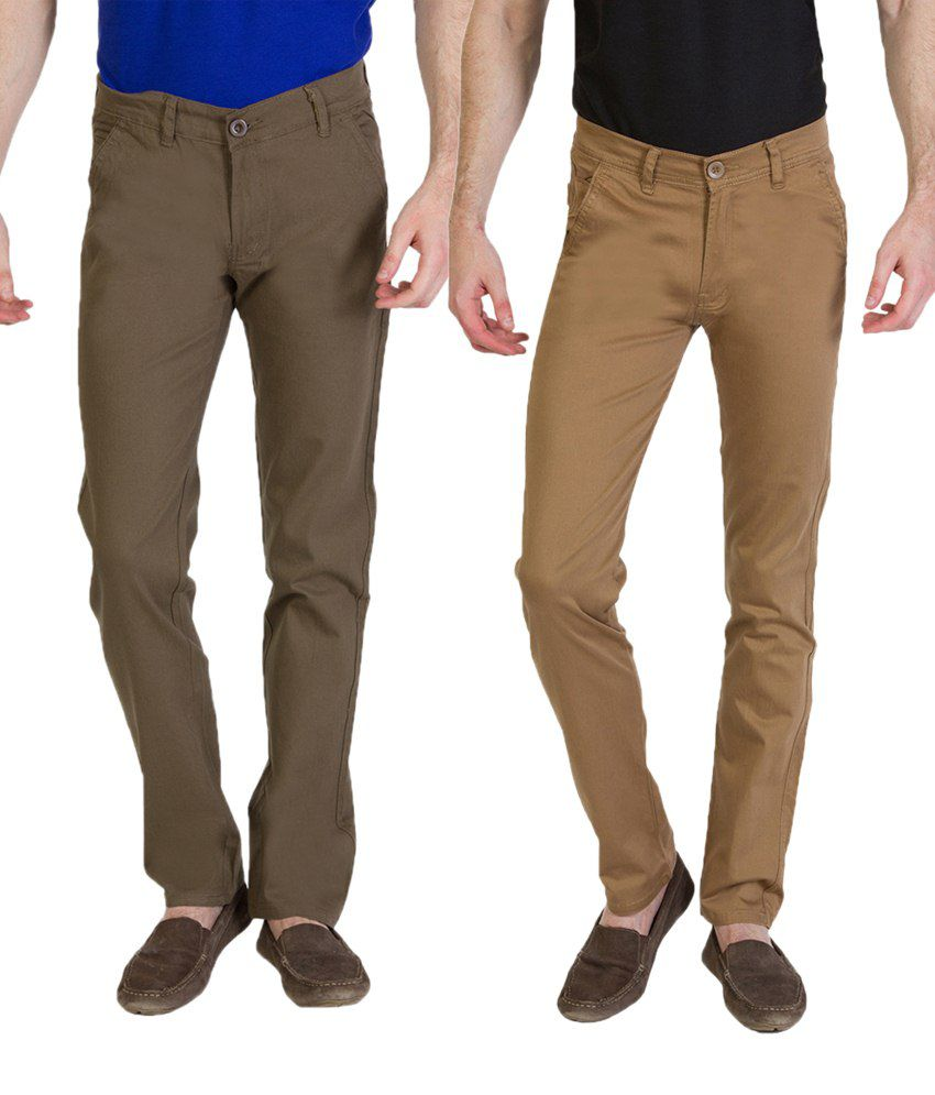 Bloos Jeans Stylish Combo Of Khaki Trousers & Brown Chinos For Men