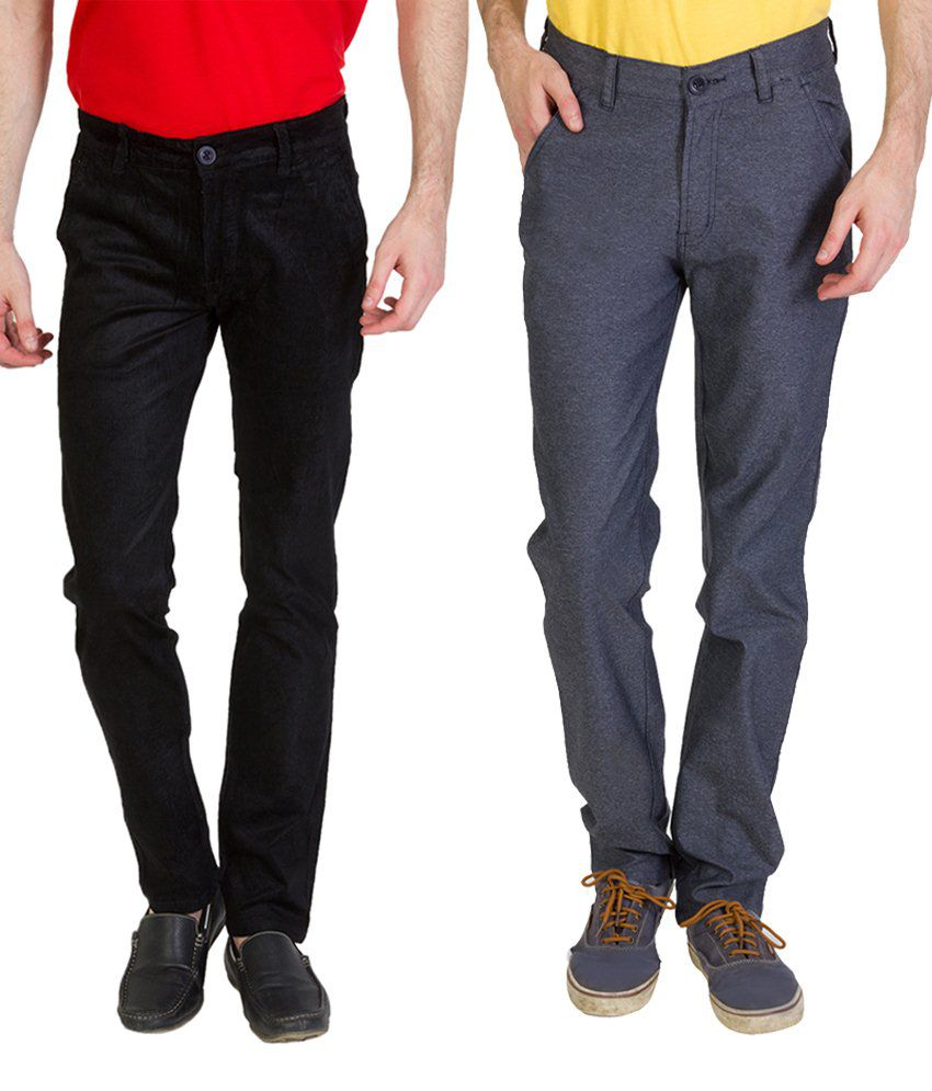 Bloos Jeans Stylish Combo Of 2 Gray & Green Chinos For Men