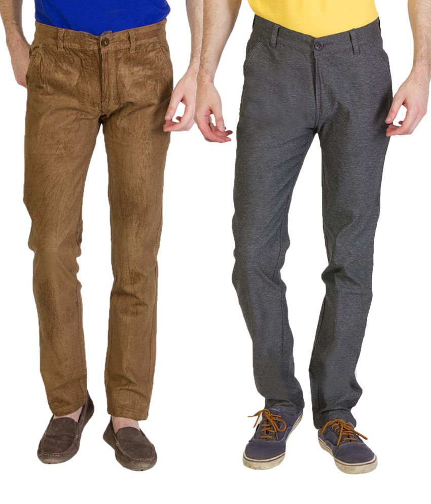 Bloos Jeans Trendy Combo Of Steel Gray Trousers & Brown Chinos For Men