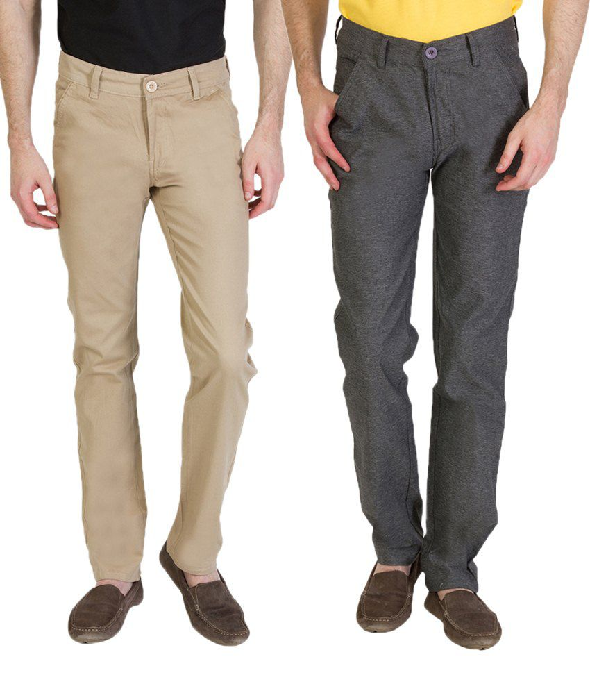 Bloos Jeans Trendy Combo Of Steel Gray Trousers & Light Beige Chinos For Men