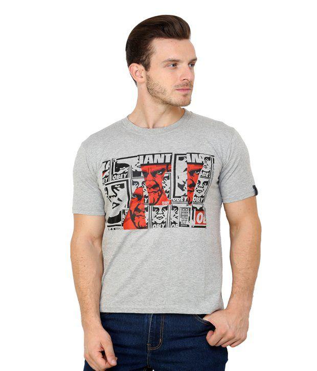 Espresso Grey Melange Cotton Printed Round Neck T-Shirt