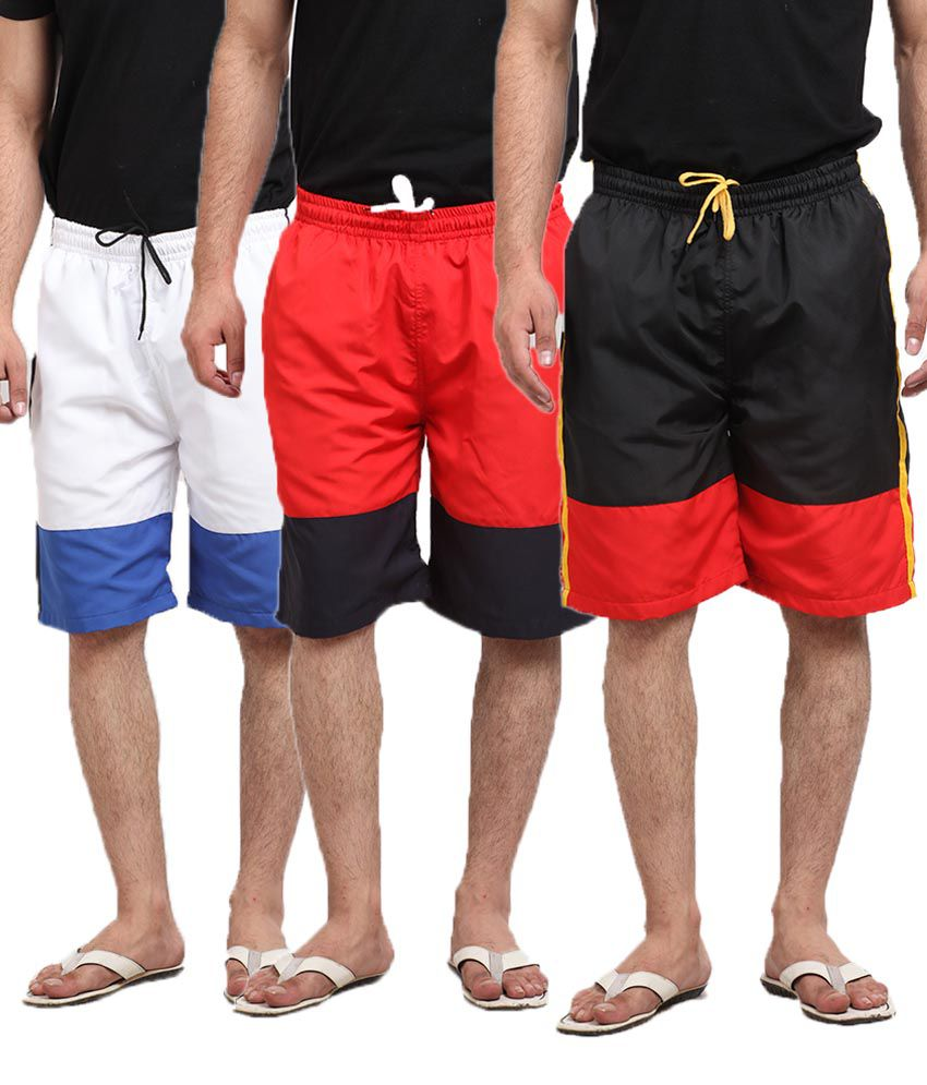 Q-nine Combo Of Black, Red and White Long Shorts For Men