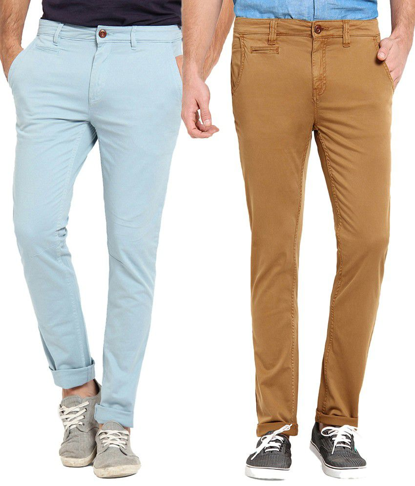 Offline Cotton Blue & Khaki Casual Slim Chinos (Pack of 2)