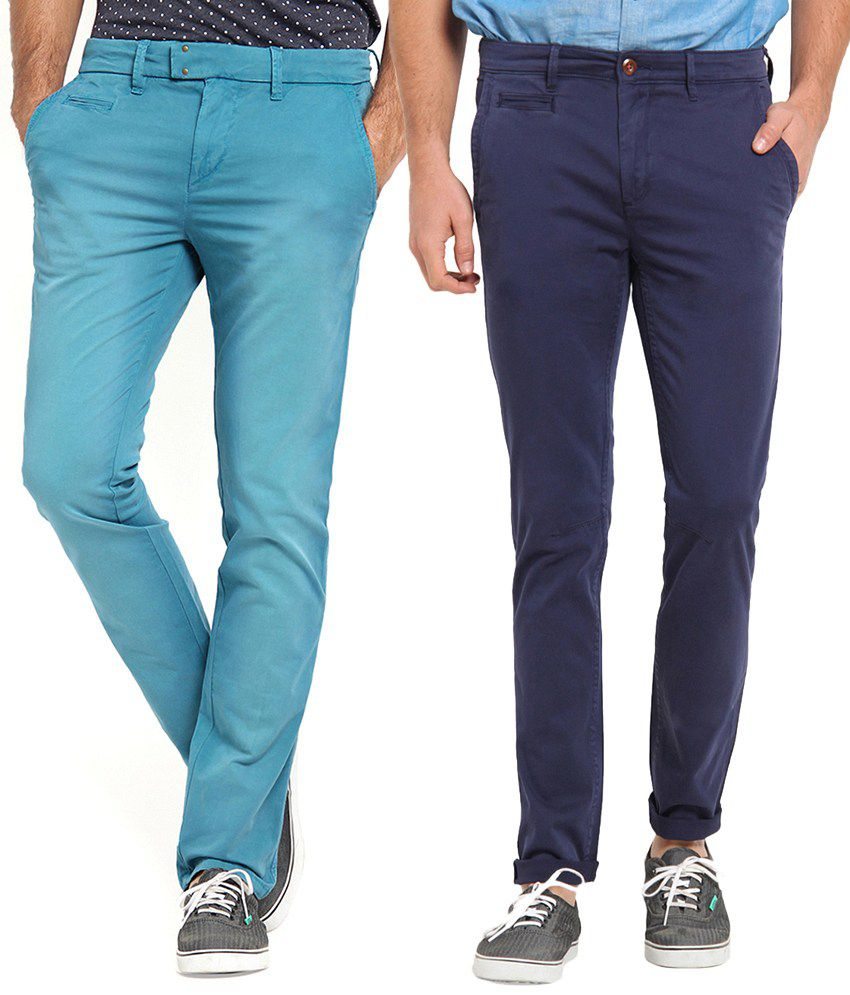 Offline Cotton Blue & Navy Casual Slim Chinos (Pack of 2)