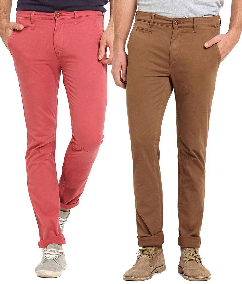 Offline Cotton Red & Brown Casual Slim Chinos (Pack of 2)