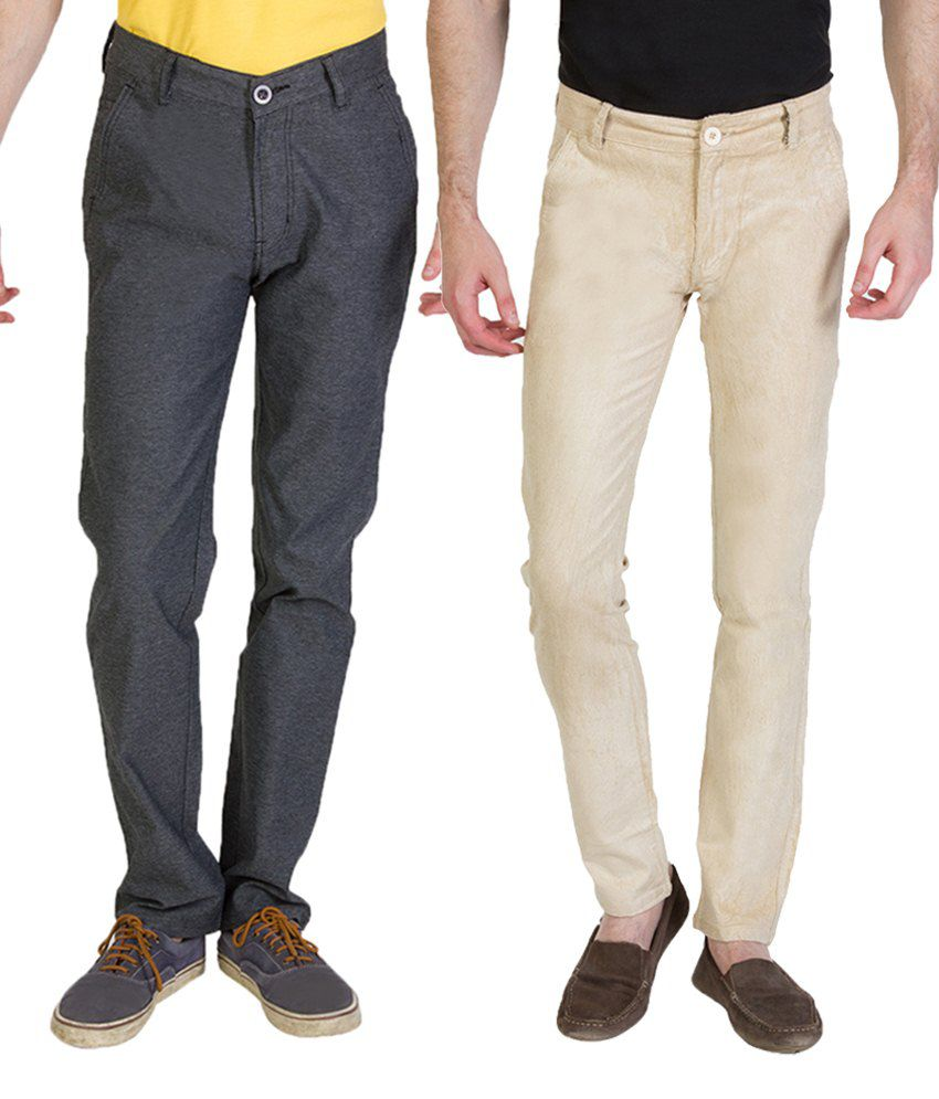 Bloos Jeans Combo Of Beige Chinos & Blue Trousers For Men