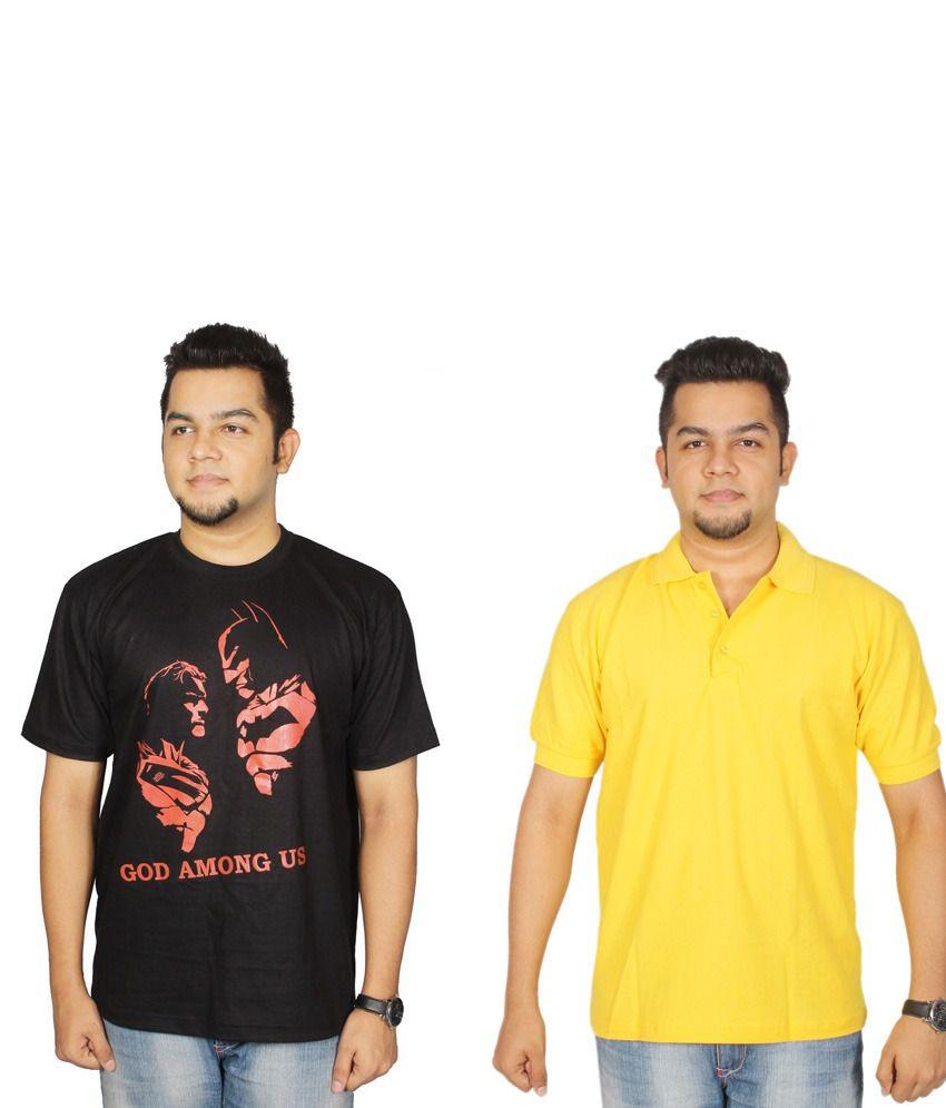 Leo Clothing Cotton Round Neck Batman VS Superman & Plain T-Shirts - Pack Of 2