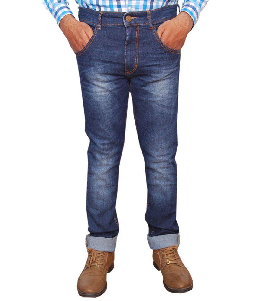 Passion Codes Blue Cotton Jeans For Men