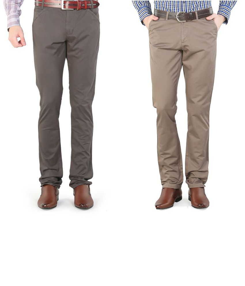 Platinum League Combo Of Beige And Gray Trousers