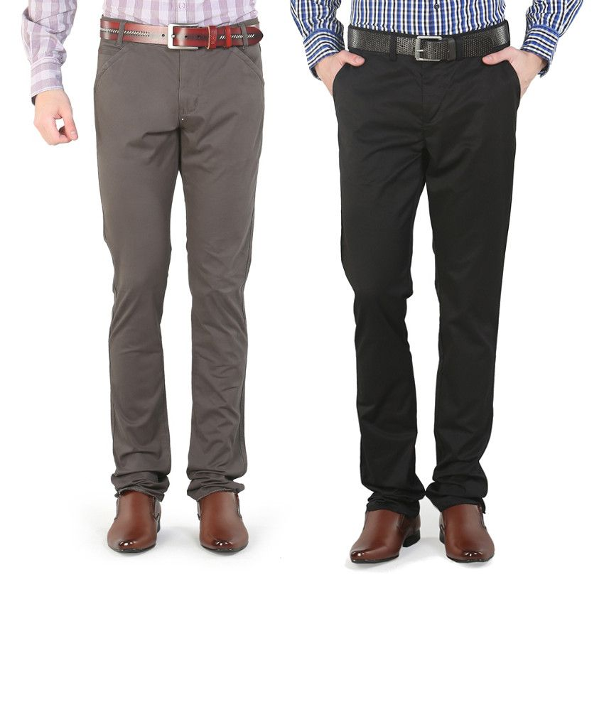Platinum League Combo Of Black And Gray Trousers
