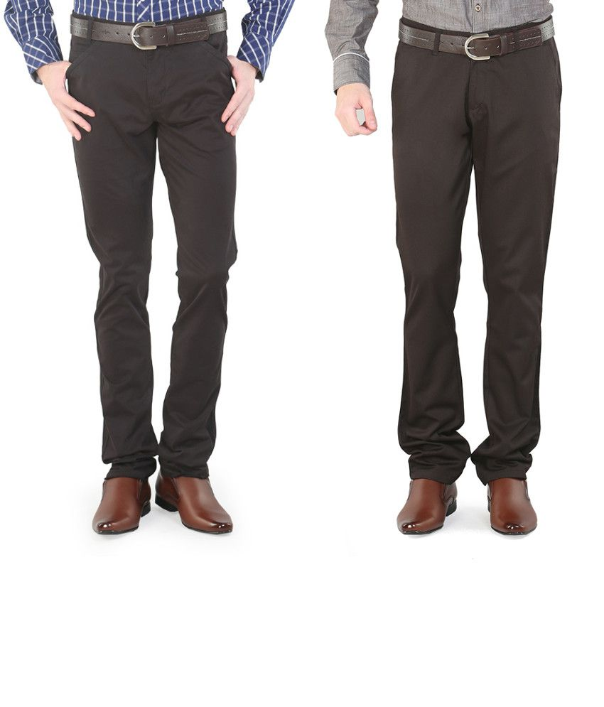 Platinum League Combo Of Brown Trousers