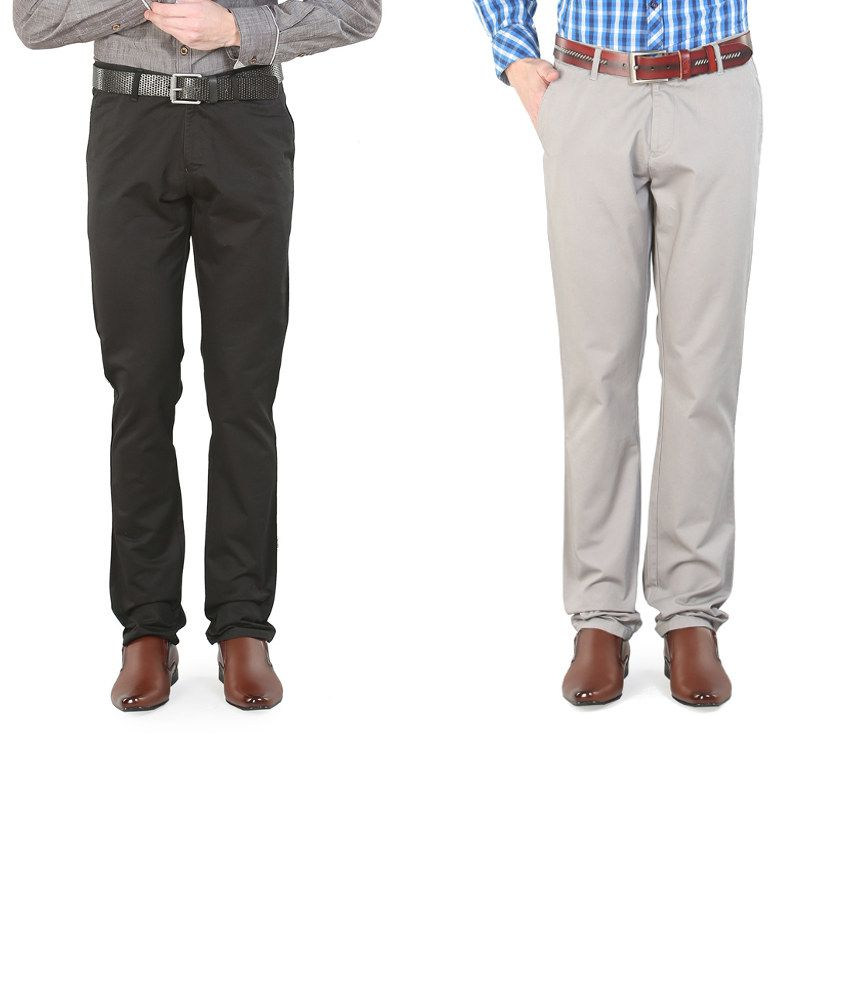 Platinum League Combo Of Gray And Black Trousers