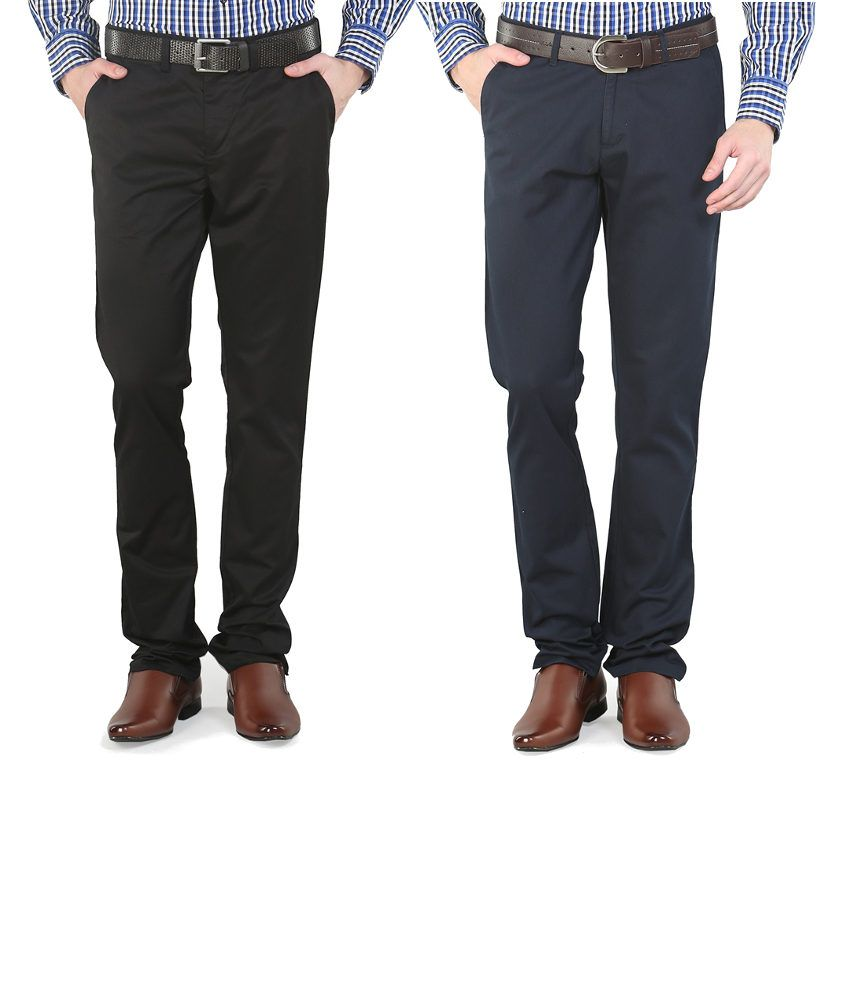 Platinum League Combo Of Navy And Black Trousers