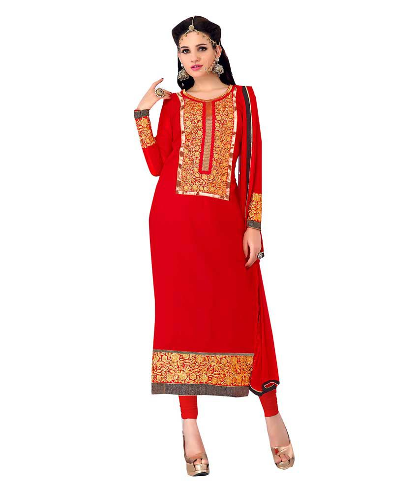 EthnicBasket Red Pure Georgette Stitched Suit