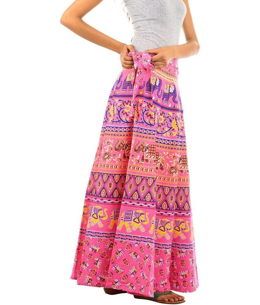 Buy Fashiana Women Animal Print Cotton Long Wrap Around Skirt ...
